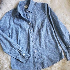 J. Crew Blue Floral Chambray Denim Shirt Size S